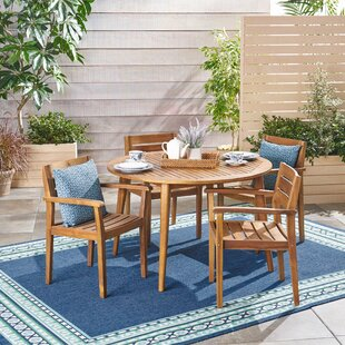 Schmitz Outdoor 5 Piece Teak Dining Set b..