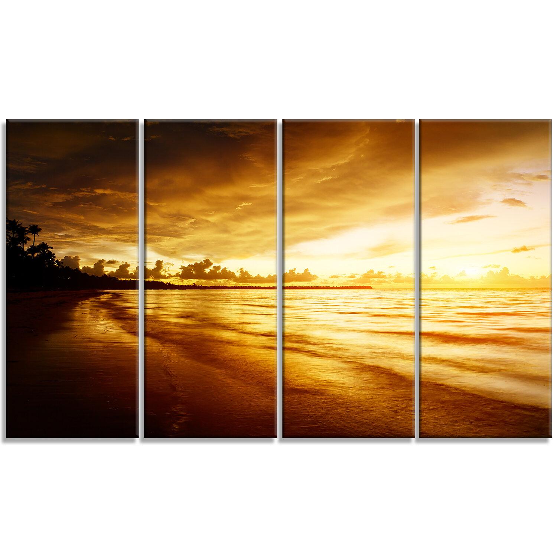 DesignArt \'Fascinating Caribbean Beach in Yellow\' 4 Piece Wall Art ...