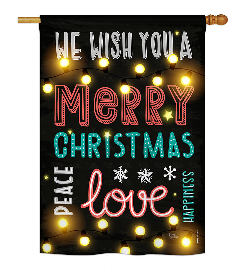 Breeze Decor Lightful Merry Christmas Love Winter Impressions 2 Sided Polyester 40 X 28 In House Flag Wayfair