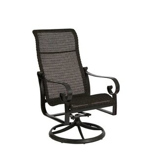 Belden Woven High Back Rocker Swivel Patio Dining Chair by Woodard Herry Up