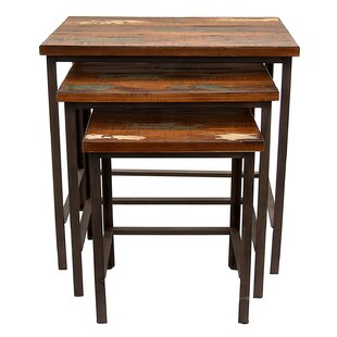 Loon Peak Palma Wood and Metal 3 Piece Nesting Tables