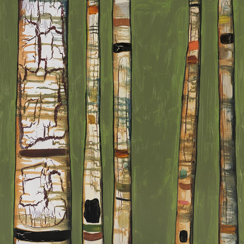 'Birch Trunks on Green' by Eli Halpin Painting on Canvas
