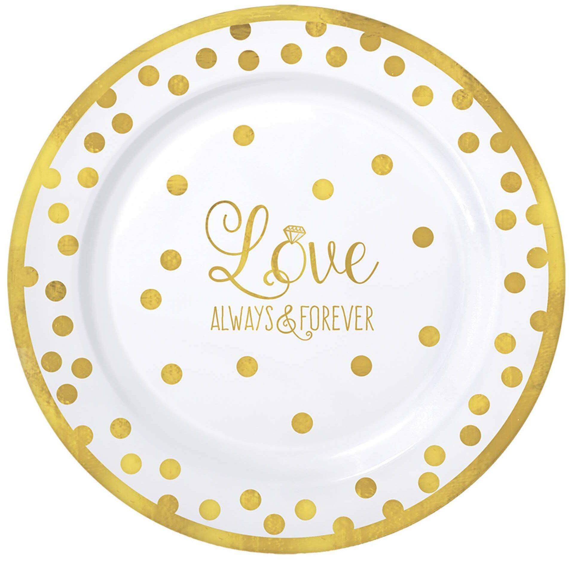 Amscan Wedding Premium Plastic Dinner Plate | Wayfair
