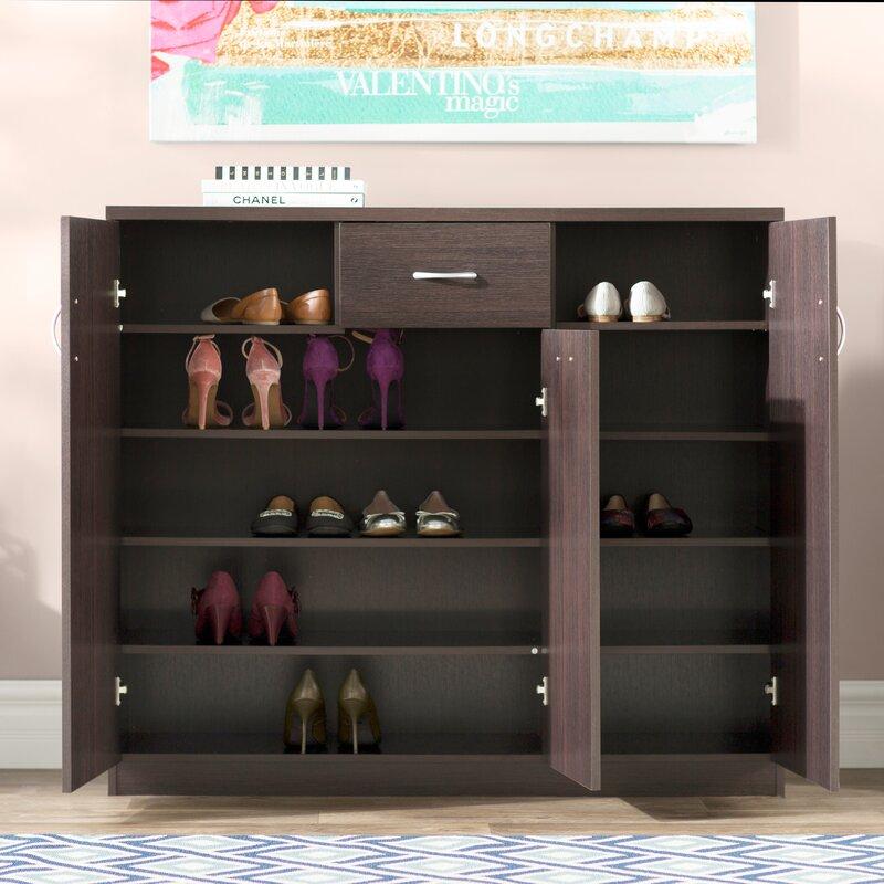 Wood 30 Pair Shoe Storage Cabinet Willa Arlo