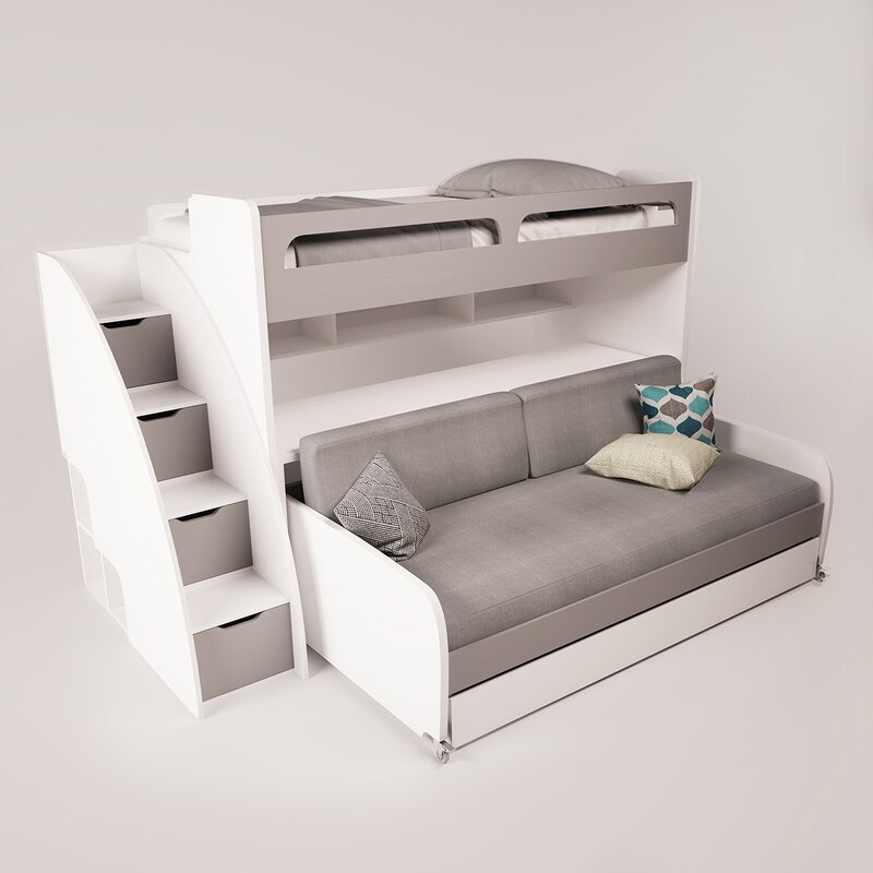 Gautreau Twin Futon Bunk Bed With Bookcase