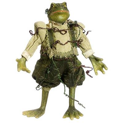 Princess Garden Whimsical Green Mr Frog Decorative Figure With Vine Accents