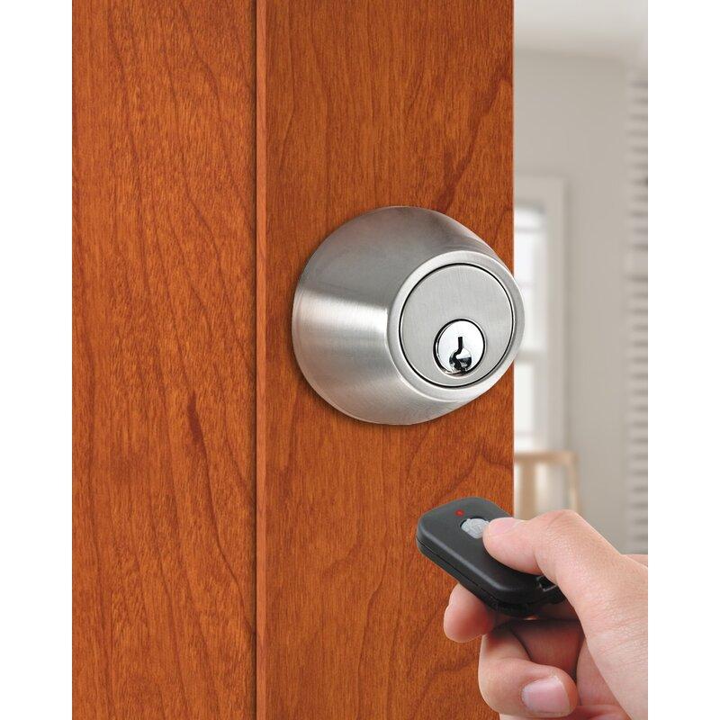 MiLocks WF-02SN Digital Deadbolt Door Lock with Keyless Entry via Remote Control for Exterior Doors Satin Nickel