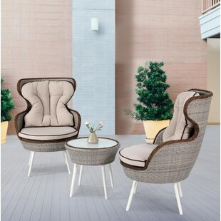 Oman 3-Pieces Rattan 2 Person Seating Group with Cushion