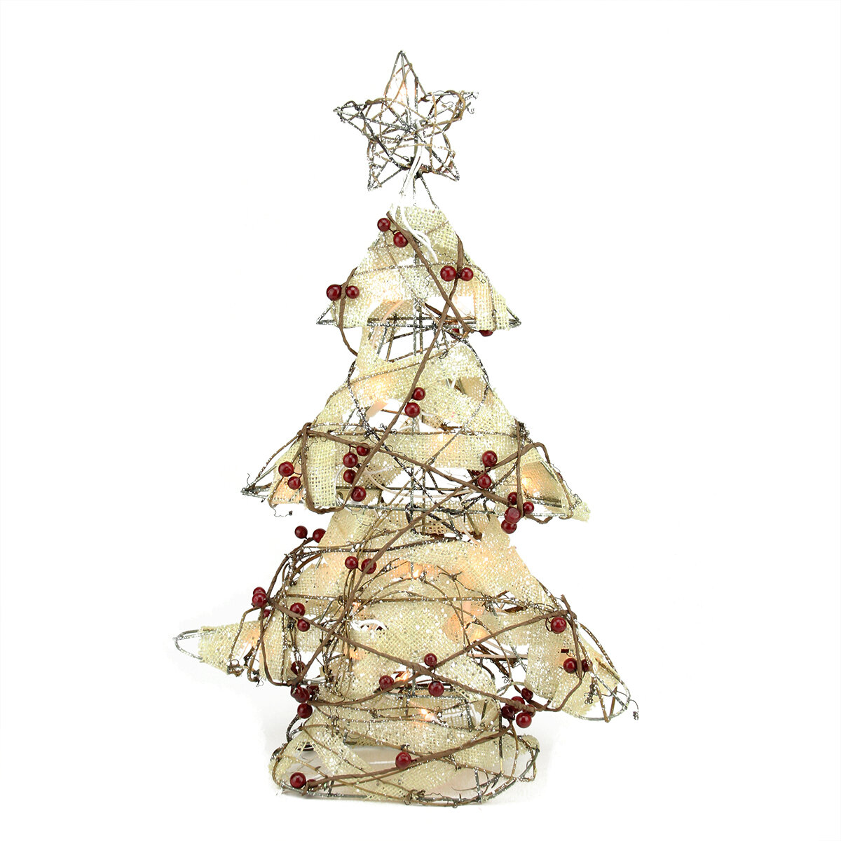 Northlight Pre-Lit Burlap and Berry Rattan Christmas Tree Table Top Decoration | Wayfair
