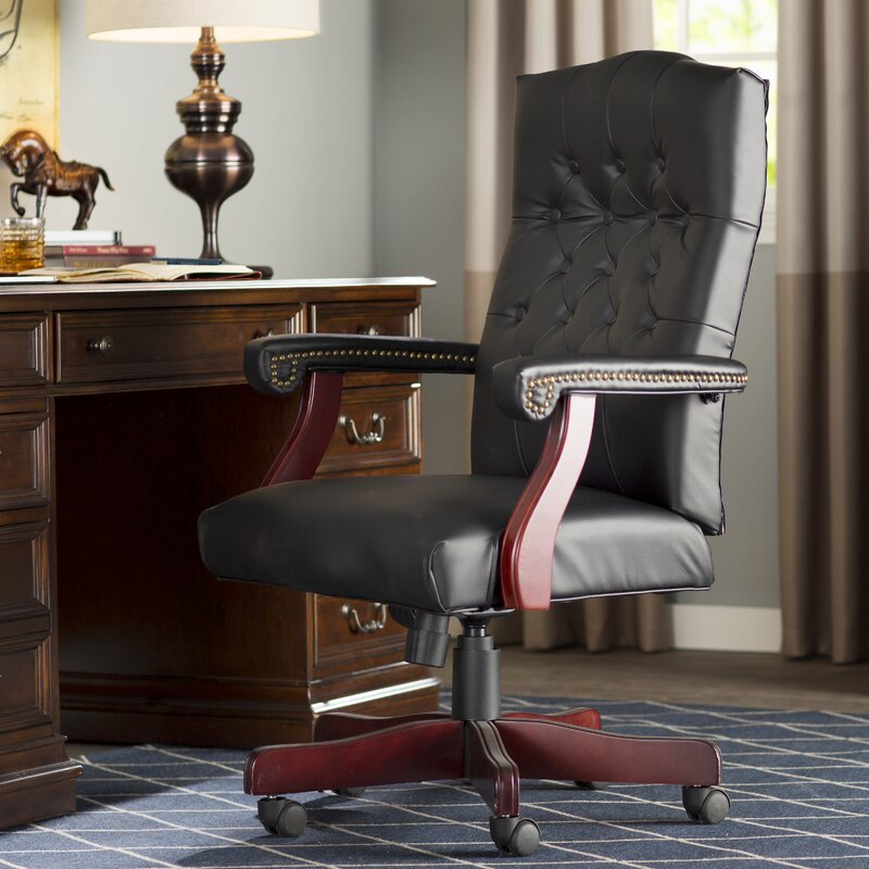 Alcott Hill Kirkland High-Back Leather Executive Chair & Reviews ...