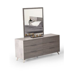 Xenia 6 Drawer Dresser with Mirror