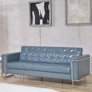 Charcoal Leather Sofa | Wayfair