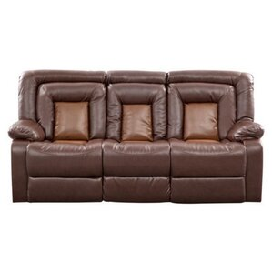 Kmax Leather Reclining Sofa by Roundhill Fur..