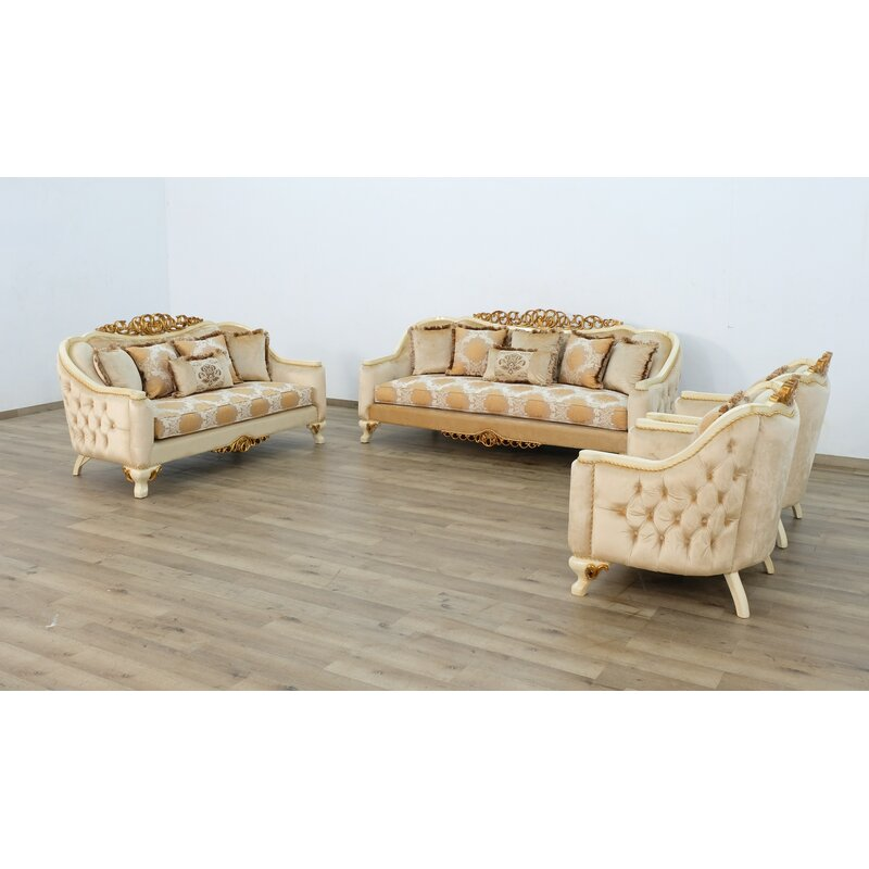 Europeanfurniture Angelica Chair Beige Gold With Brown Fabric Wayfair