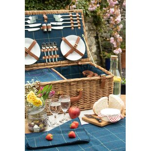 4 Person Tweed Picnic Basket By Union Rustic