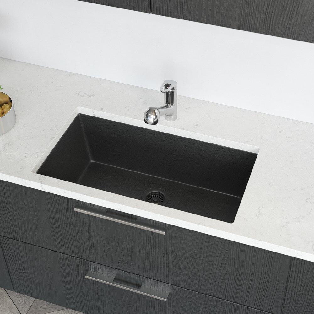Rene Granite Quartz 33 L X 18 W Undermount Kitchen Sink With Basket Strainer Reviews Wayfair