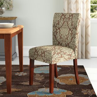 Hoadley Upholstered Damask Parsons Chair (Set of 2) by Three Posts