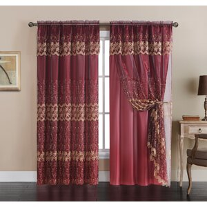 Aqueduct Embroidered Blackout Rod Pocket Single Curtain Panel