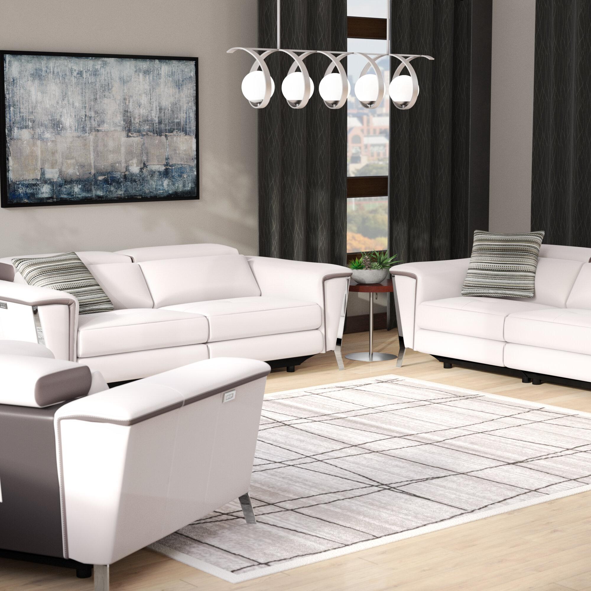 Wade Logan Baccus 3 Piece Leather Living Room Set | Wayfair