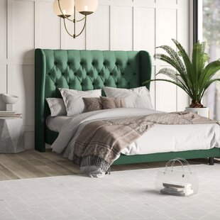 Carswell Tufted Wingback Upholstered Panel Bed