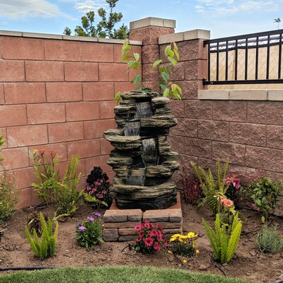Sol 72 Outdoor Waldrup Resin Stacked Shale Fountain with LED Light