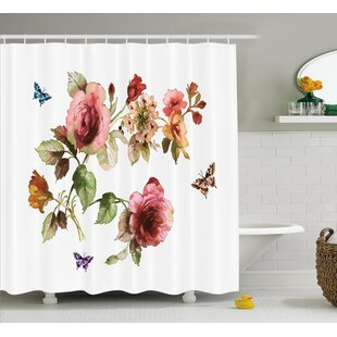 Chaney Shabby Elegance Roses Buds Leaves Tulips Floral Details Butterflynatural Print Single Shower Curtain