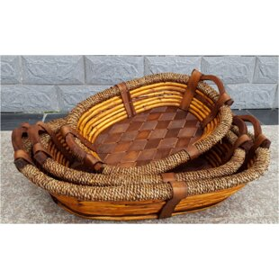Best Oval Willow Wood and Seagrass Wicker Basket By Bay Isle Home