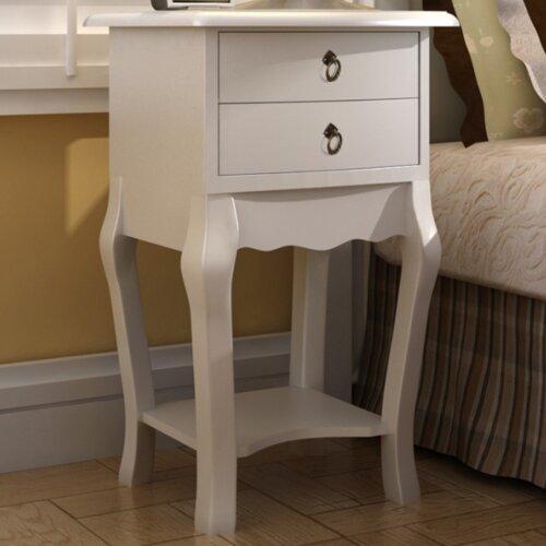 Nachttisch mit 2 Schubladen | Schlafzimmer | Weiß | Mdf - Kiefernholz - Holz - Teilmassiv - Massivholz | Home Etc