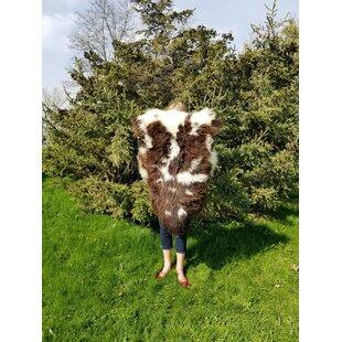 Best Bueno Soft Dense Sheepskin/Wool Brown/White Area Rug ByUnion Rustic