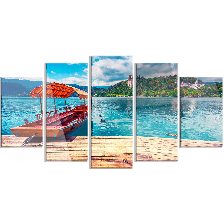 Designart Boat In Lake Bled In Julian Alps 5 Piece Photographic Print On Metal Set Wayfair