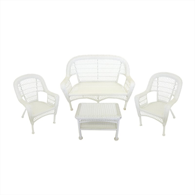 Resin Wicker Patio Furniture 4 Piece Deep Seating Group