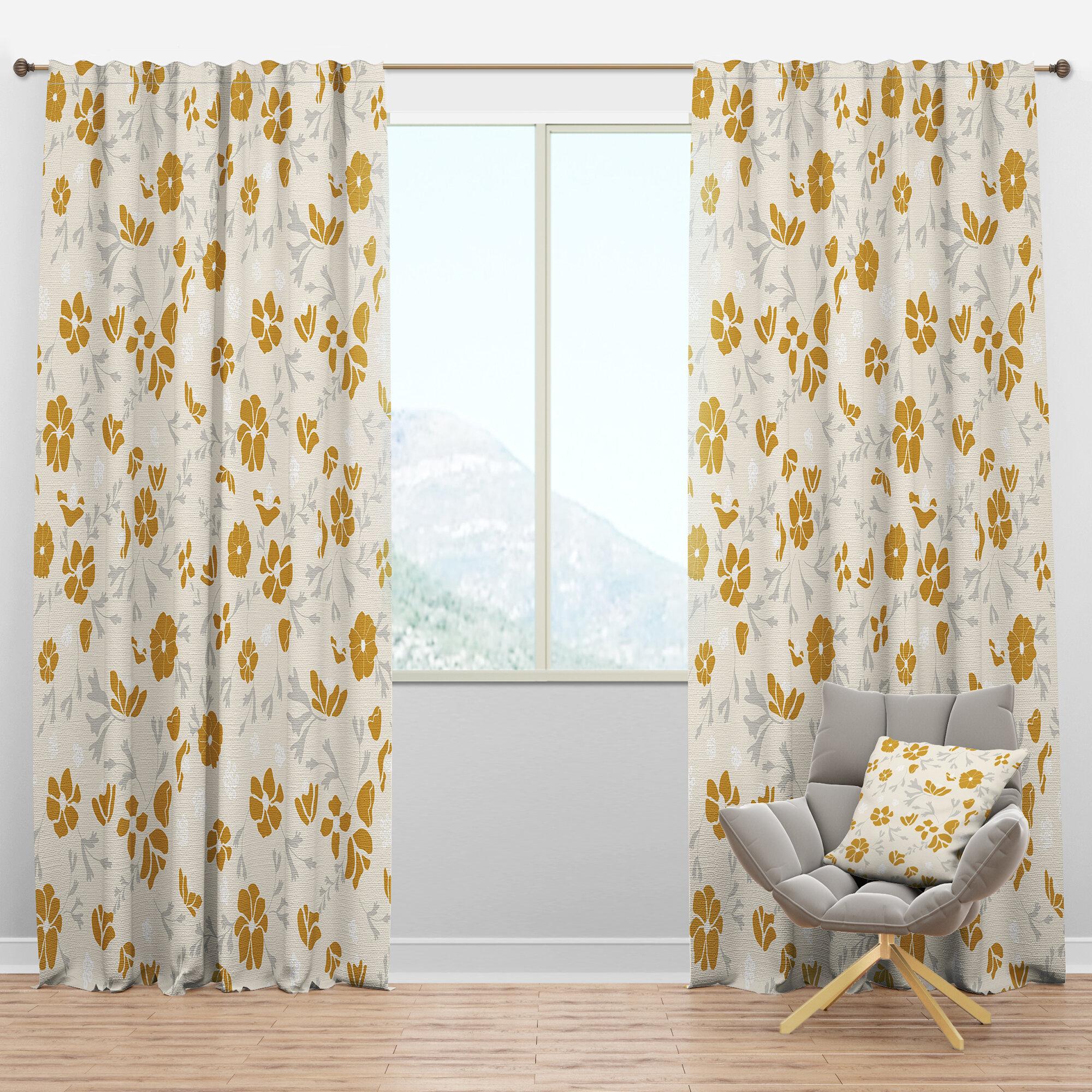 Designart Mid Century Handdrawn Poppies Iii Floral Semi Sheer Thermal Rod Pocket Curtain Panels Wayfair