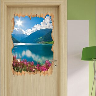 Flower Meadow By Mountain Lake Wall Sticker By East Urban Home