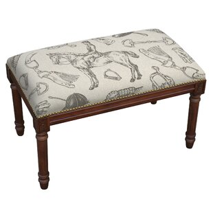 Equestrian Upholstered and Wood Bench
