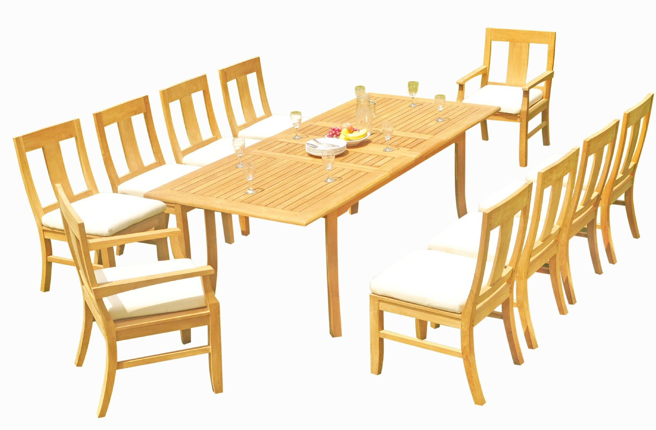 Rosecliff Heights Kevon 11 Piece Teak Dining Set Wayfair