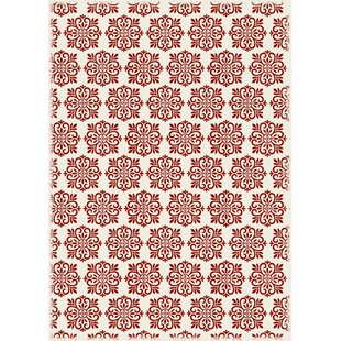 Hotaling Modern European Red/White Indoor/Outdoor Area Rug