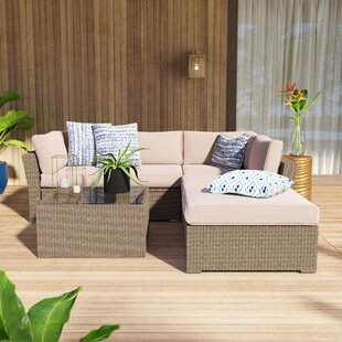 Amesbury 4 Piece Rattan Sectional Seating Group/Sofa Seating Group with Cushions