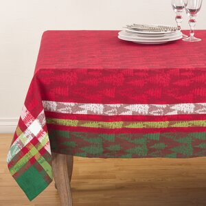 Plaid Christmas Tree Design Holiday Cotton Table Topper Tablecloth
