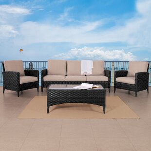 Ja Wide 4 Piece Rattan Sofa Seating Group with Cushions