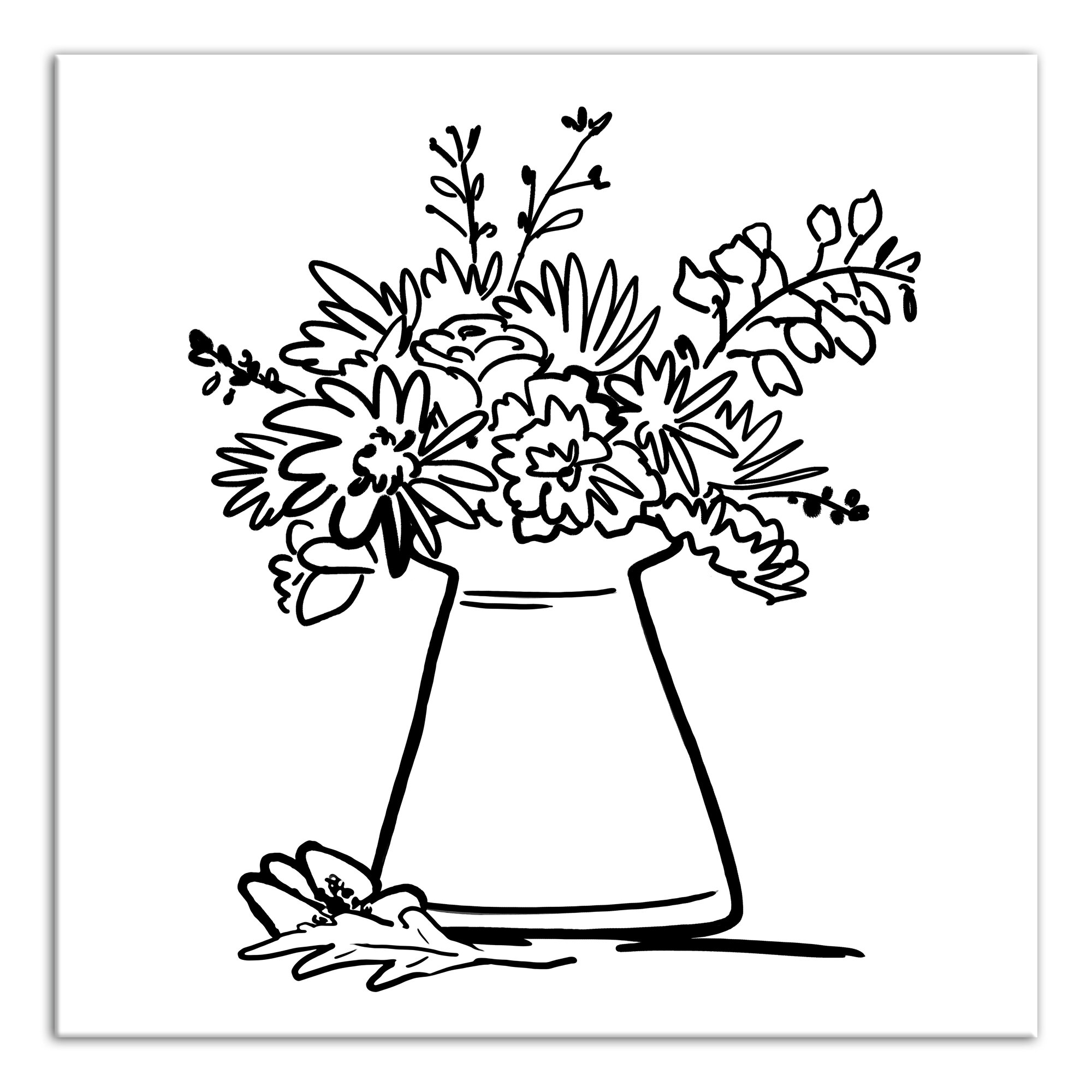 Bungalow Rose Vase Full Of Flowers Drawing Print On Wrapped