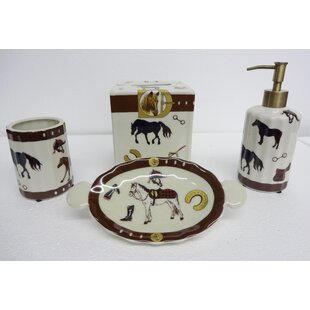 Loon Peak Tewksbury Horse 4 Piece Bathroom Accessory Set