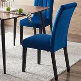 Akhtar Velvet Parsons Chair in Blue (Set of 2) by Everly Quinn