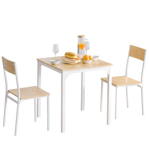 Mccarroll Dining Set with 2 Chairs Brambly Cottage Colour: