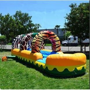 JumpOrange Jungle Zoo Slip Inflatable Slide