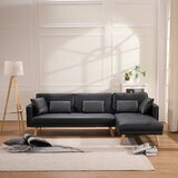 Foote 70 Faux Leather Right Hand Facing Sleeper Sofa & Chaise by Corrigan Studio®