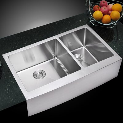 059 Corner Radius 6040 Stainless Steel 36 L x 22 W Double Apron Kitchen Sink with Drain and Strainer dCOR design