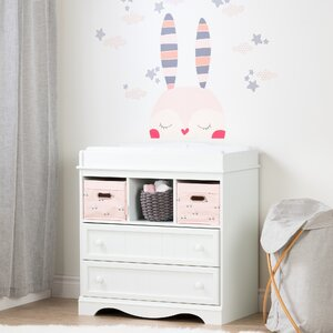Savannah Changing Table with Doudou the Rabbit Wall Decal