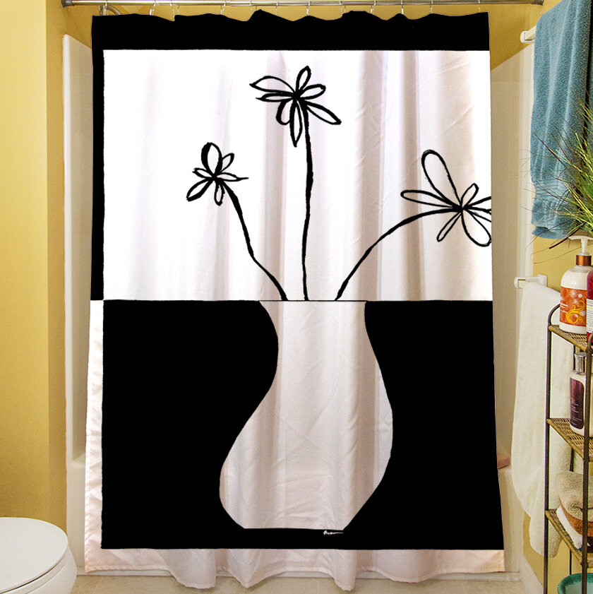 Manual Woodworkers Weavers Minimalist Flower In Vase Iv Single Shower Curtain Reviews Wayfair