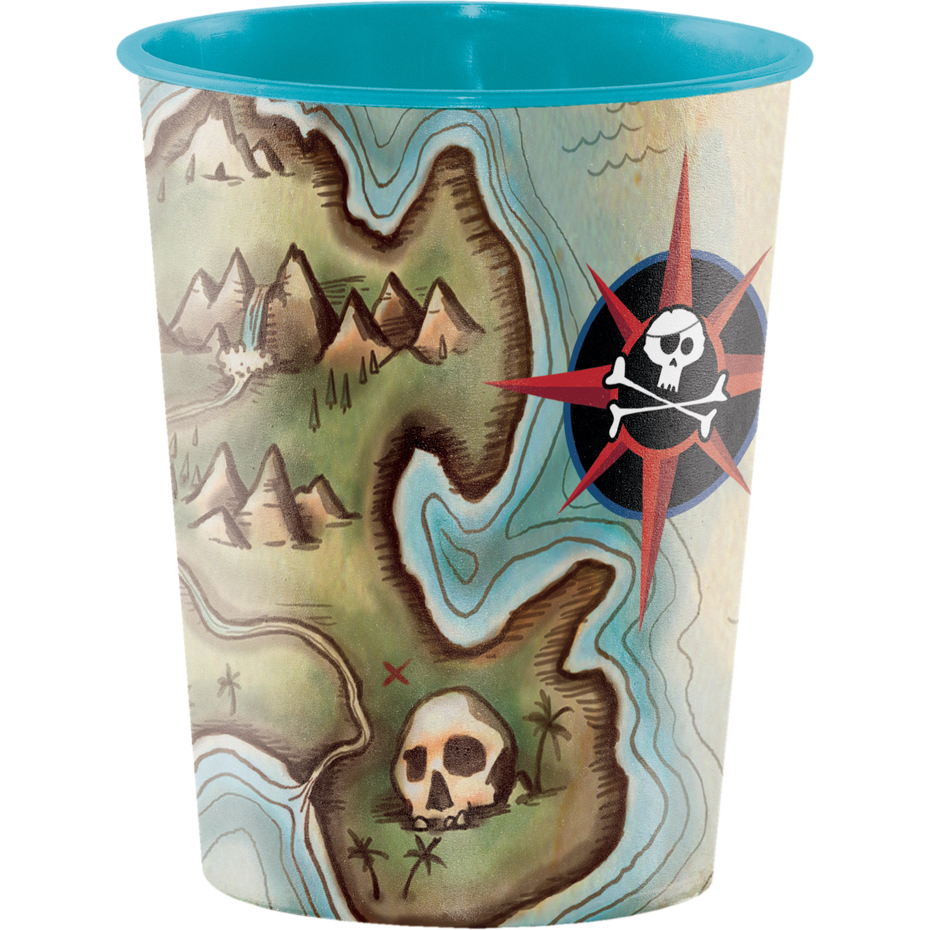 Creative Converting Pirates Map Keepsake 16 Oz Plastic Everyday Cup