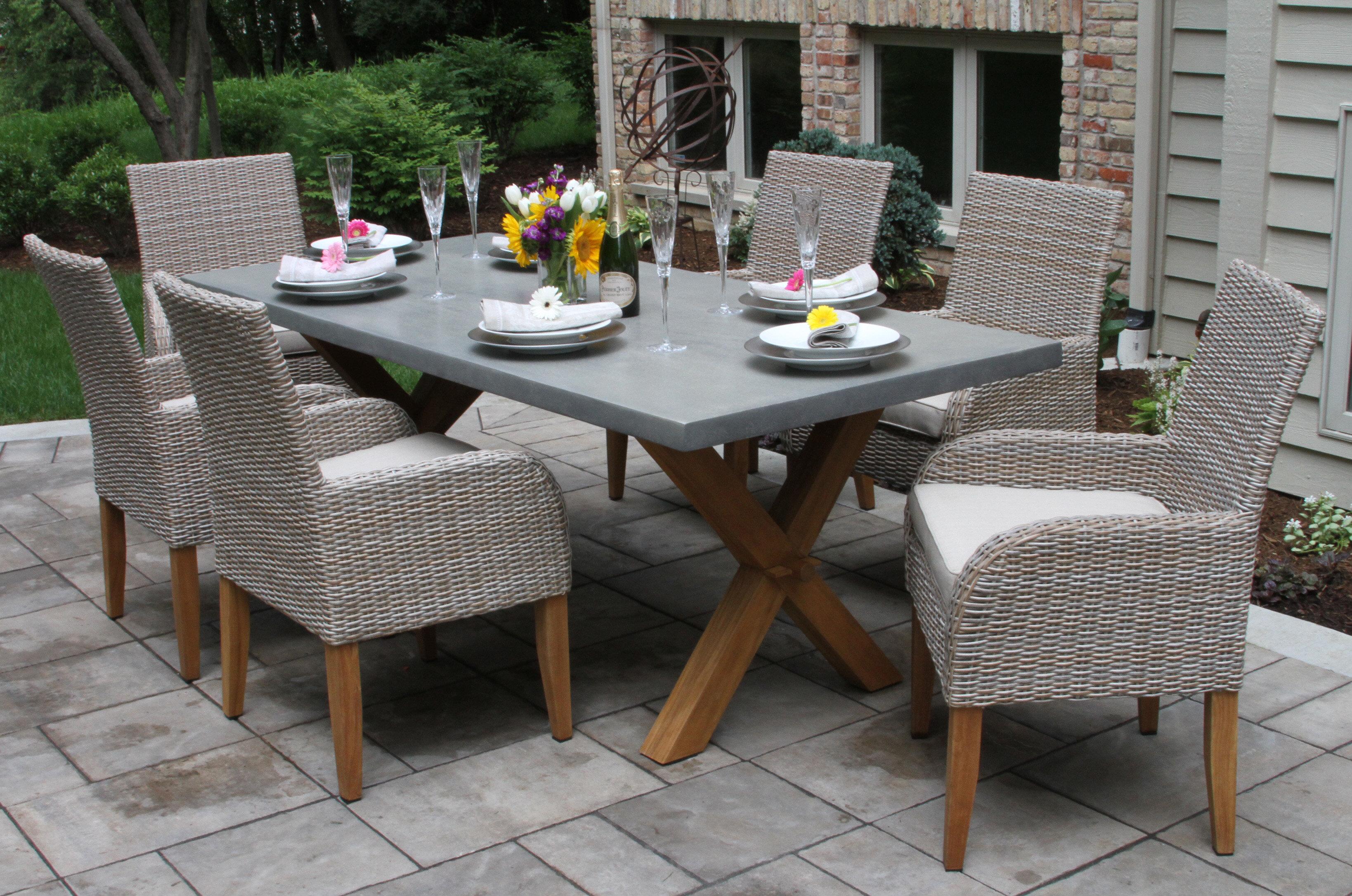 Gracie Oaks Roese 7 Piece Teak Dining Set With Sunbrella Cushions U0026 Reviews  | Wayfair